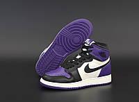 Кроссовки женские Nike Air Jordan 1 Retro фиолетовые, Найк ДжорДан. Натуральная кожа, прошиты. Код KD-12413