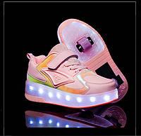 Роликовые кроссовки с подсветкой 2 ролика, в стиле Heelys, USB. Детские и Подростковые, розовые (Т-09455)
