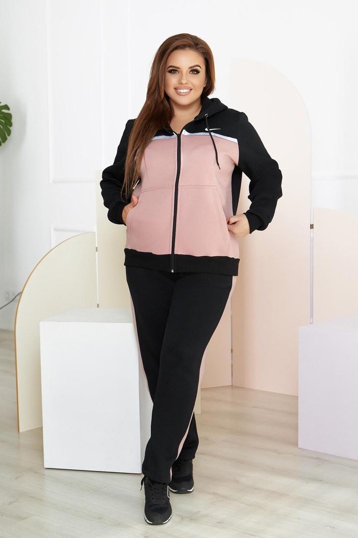 """Теплый женский спортивный костюм """"NK"""" с капюшоном и лампасами (большие размеры)"""
