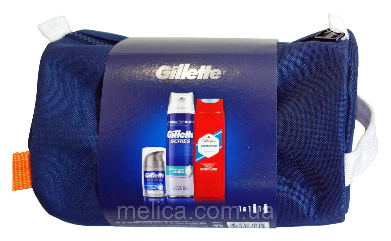 Набор Gillette Series и Old Spise (пена для бритья +бальзам после бритья+гель для душа+косметичка)