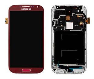 Модуль для Samsung Galaxy S4 I9500, красный, дисплей + сенсор