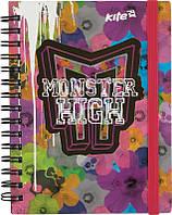 Блокнот вырубка на обложке Monster High‑1 Kite,  металлическая спираль, 80 листов, А6, цветной