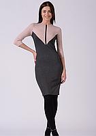 Стильное трикотажное комбинированное платье серо розовое Lesya Аджин 7