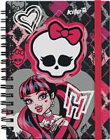 Блокнот вырубка на обложке Monster High‑2 Kite,  металлическая спираль, 80 листов, А6, розово-черный