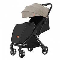 Детская прогулочная коляска бежевая Carrello Turbo черная рама утеплённый чехол для ножек дождевик