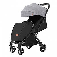 Детская прогулочная коляска серая Carrello Turbo черная рама утеплённый чехол для ножек дождевик