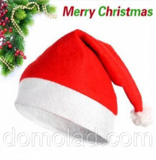 Шапка Деда Мороза Санта Клауса Колпак Новогодний Santa Claus Классическая Упаковка 12 шт