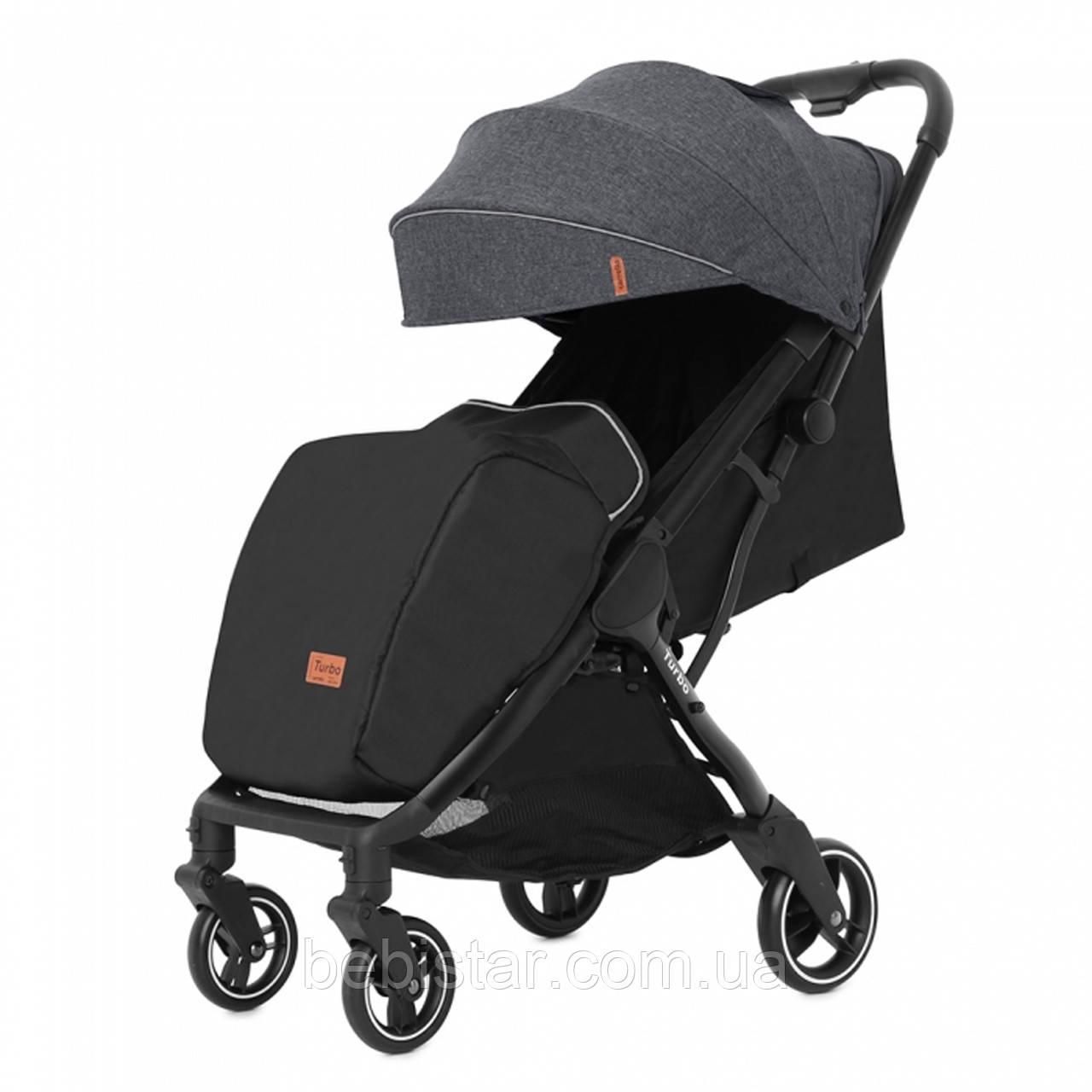Детская прогулочная коляска темно-серая Carrello Turbo черная рама утеплённый чехол для ножек дождевик