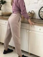 Однотонні теплі спортивні штани на флісі і на манжеті мокко