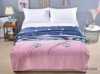 Мягкий теплый плед покрывало велсофт микрофибра полуторный Полоски звезды 160х220 на диван, кровать