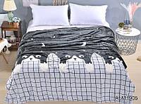 Мягкий плед покрывало велсофт (микрофибра) полуторный Ночные коты 160х220 на диван, кровать