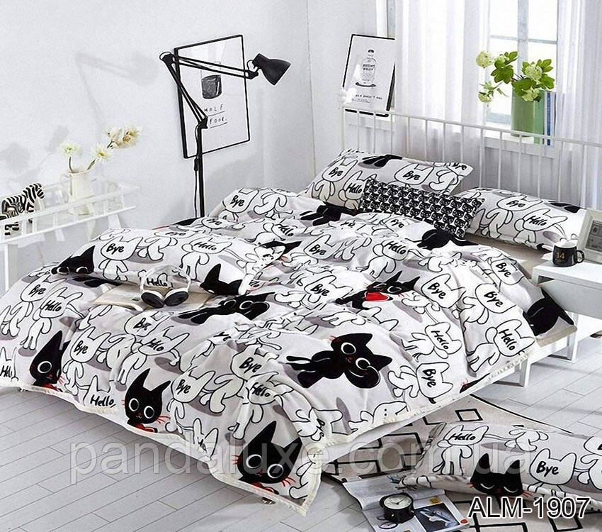 М'який теплий плед покривало велсофт (мікрофібра) полуторний Коти 160х220 на диван, ліжко