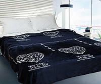 Мягкий плед покрывало велсофт (микрофибра) полуторный Сердце 3д 160х220 на диван, кровать