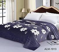 Мягкий плед покрывало велсофт (микрофибра) полуторный Цветы 160х220 на диван, кровать