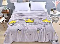 Мягкий плед покрывало велсофт (микрофибра) полуторный Короны 160х220 на диван, кровать