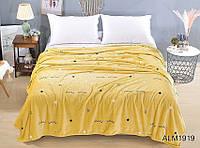 Мягкий плед покрывало велсофт (микрофибра) оранжевый полуторный Звезды 160х220 на диван, кровать