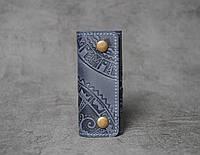 Ключница кожаная синяя, орнамент Этно, 4 карабина, фото 1