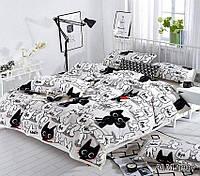 Мягкий плед покрывало велсофт (микрофибра) двуспальный Коты 200х220 на диван, кровать