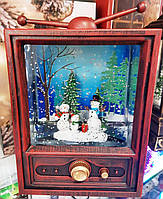 "Новогодний декор лампа ночник- ""Рождественский телевизор"" со снегом Musical Television Snow Globe Light"