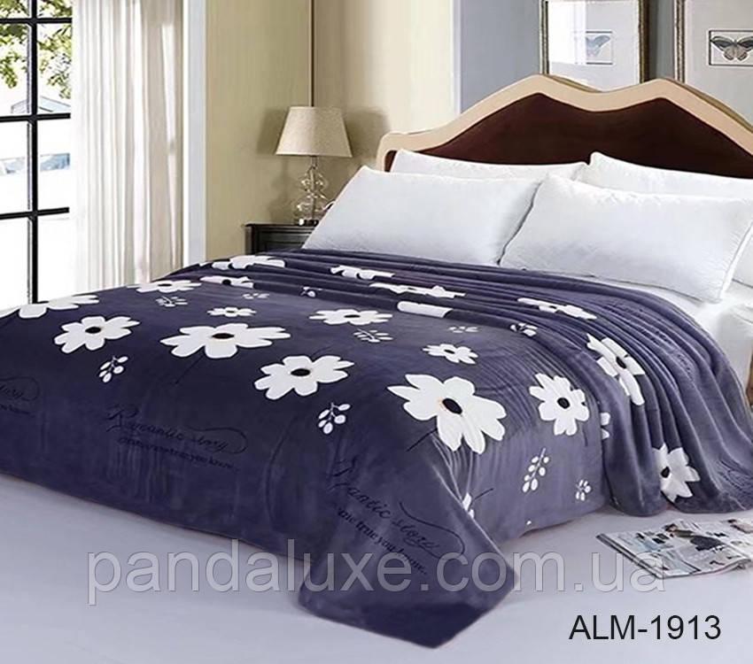Мягкий плед покрывало велсофт (микрофибра) двуспальный Цветы 200х220 на диван, кровать