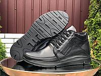 Мужские зимние кожаные ботинки Vankristi чёрные