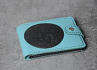 Кожаный кошелек ручной работы, голубой кошелек с тисненым орнаментом, фото 1