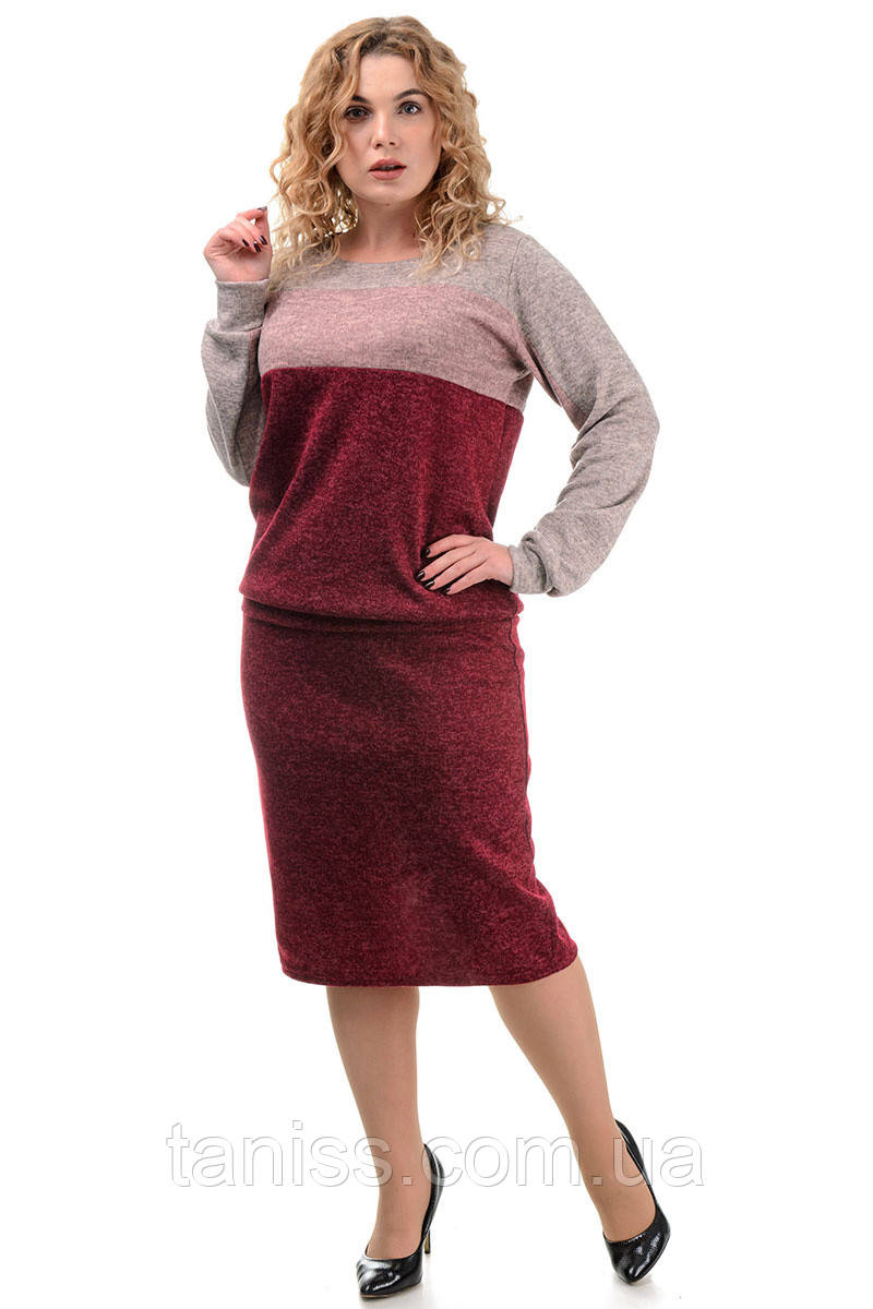 Жіночий спідничний костюм, великого розміру, ангора-софт р. 46,48,50 бордо