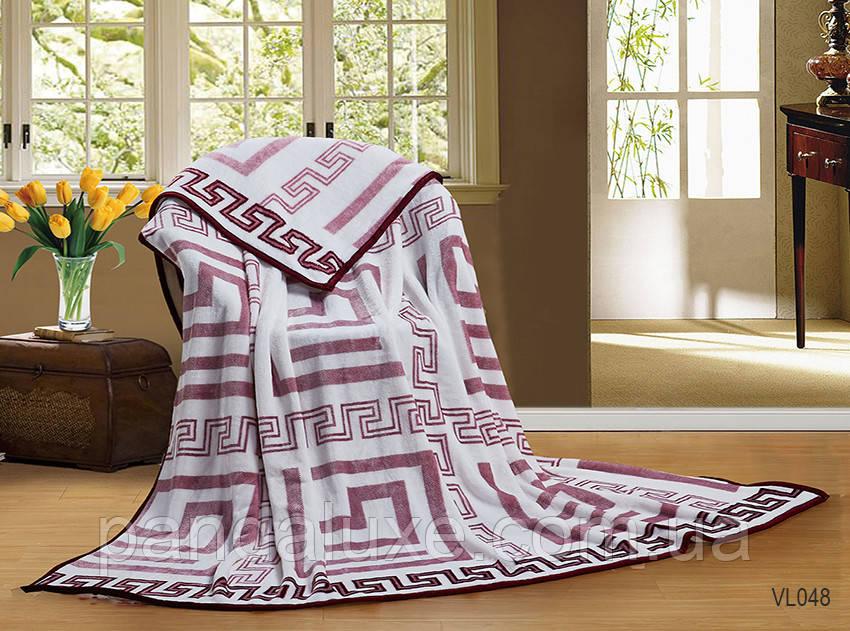 Мягкий теплый плед покрывало велсофт (микрофибра) двуспальный Лабиринт 200х220, на диван, кровать
