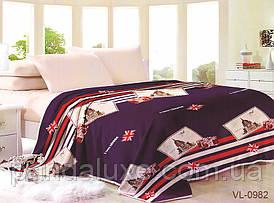 Мягкий теплый плед покрывало велсофт (микрофибра) двуспальный Лондон 200х220, на диван, кровать