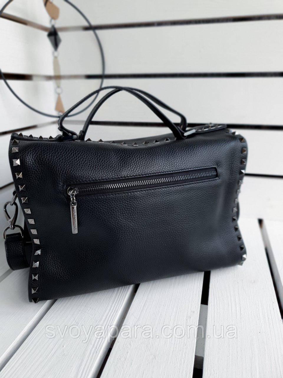 Кожаная женская сумка размером 32х28х15 см Черная (01292)
