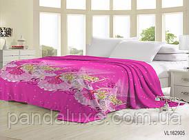 Мягкий теплый плед покрывало велсофт (микрофибра) двуспальный Барби 200х220 на диван, кровать