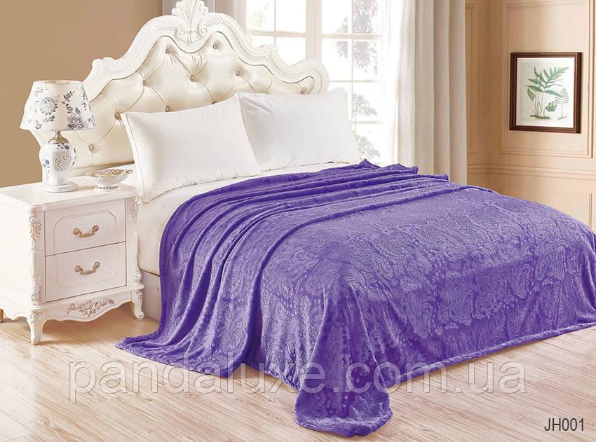 Мягкий теплый плед покрывало велсофт (тиснение) двуспальный Орнамент фиолетовый 200х220