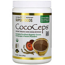 "Темный какао-напиток California GOLD Nutrition ""CocoCeps"" с грибами Кордицепс и Рейши (225 г)"