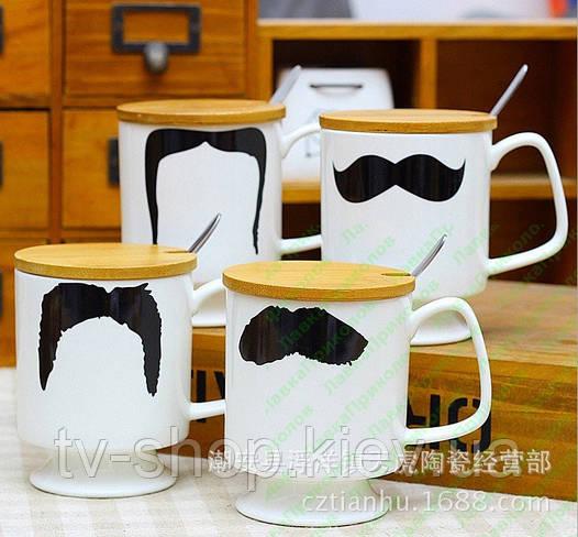 Чашка с крышкой и ложкой STARBUCKS Mr.Moustache