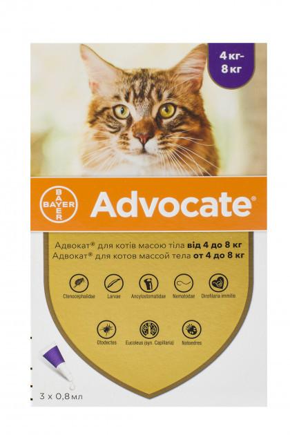 Краплі Bayer Advocat Байєр Адвокат для котів від бліх і глистів 4-8 кг 1 піпетка