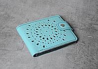 Голубой кошелек ручной работы, женский уникальный кошелек из натуральной качественной кожи, фото 1
