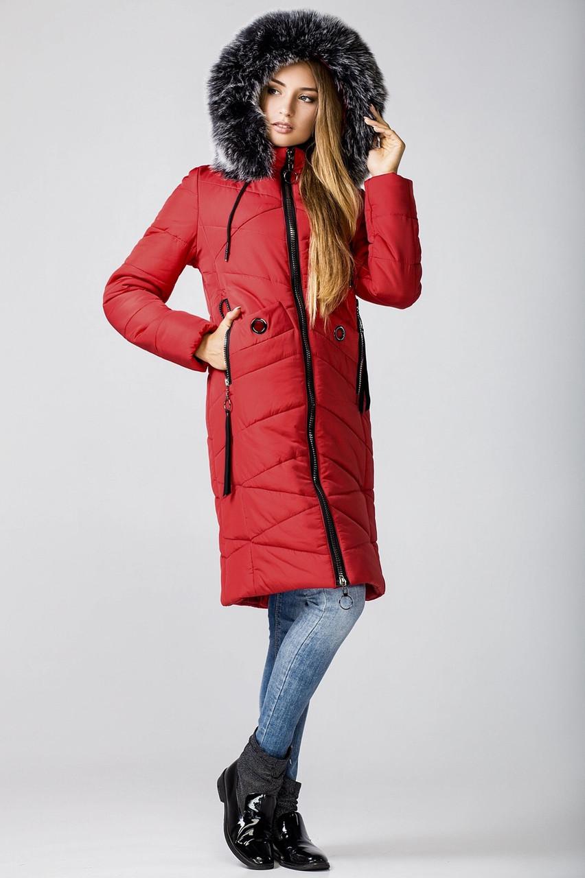 Парки зимние женские  молодежные 42-50 красный