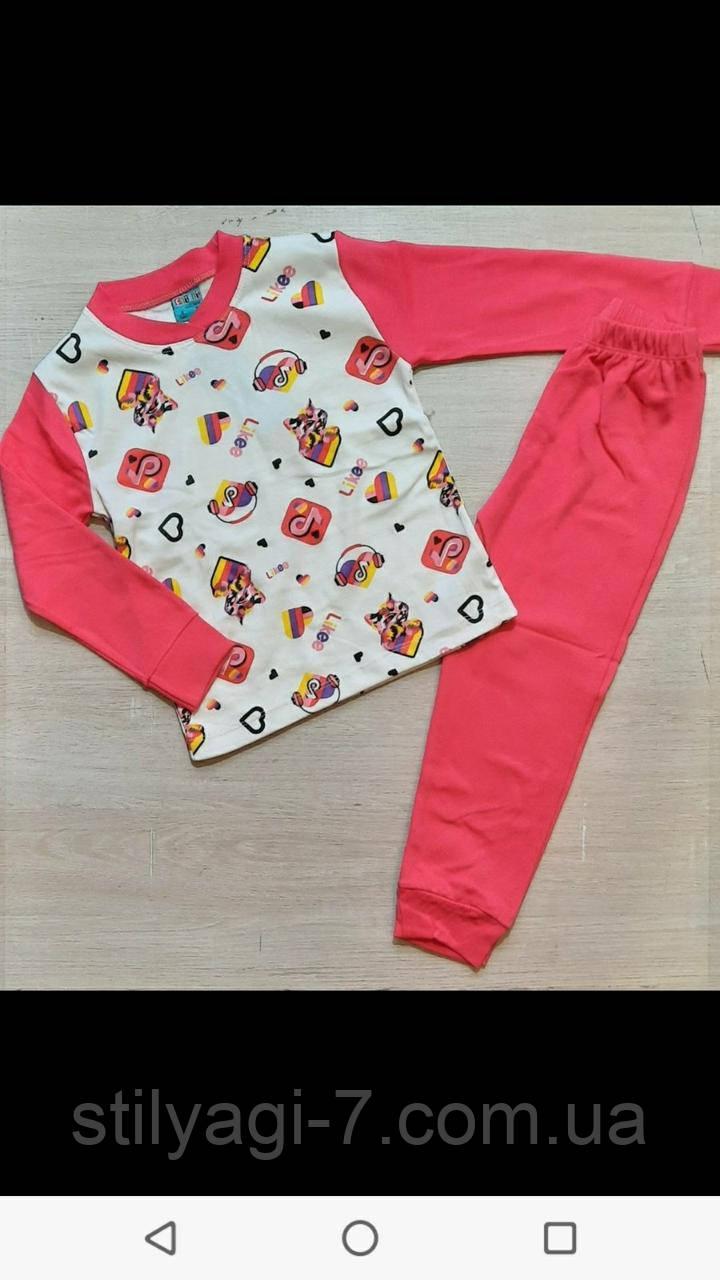 Пижама для девочки на 1-4 лет салатового, розового, малинового цвета тик ток, авокадо оптом