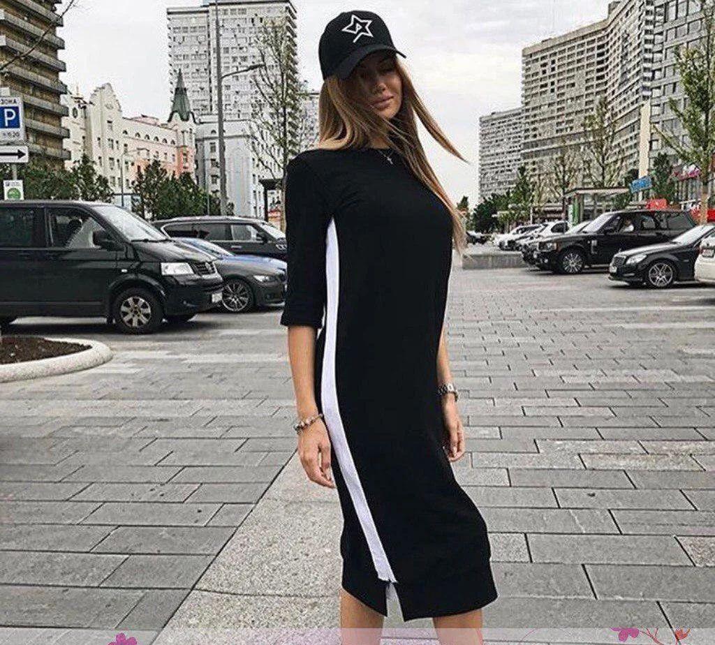 Сукня спортивне вільний з смугою на блискавці