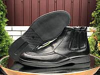 Мужские кожаные зимние ботинки Vankristi чёрные на молнии