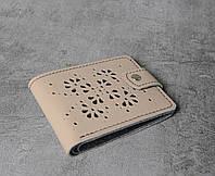 Бежевый кошелек ручной работы, женский уникальный кошелек из натуральной качественной кожи, фото 1