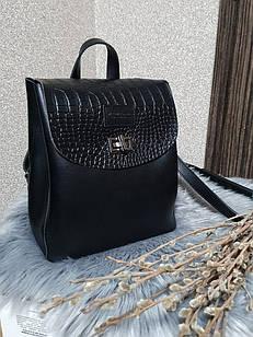 Жіноча чорна рюкзак-сумка, екошкіра