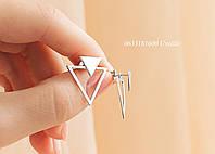 Серебряные  серьги-джекеты треугольники на закрутке Арт. ЛР-2200, фото 1