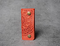Ключница кожаная красная, орнамент Мандала, 4 карабина, фото 1
