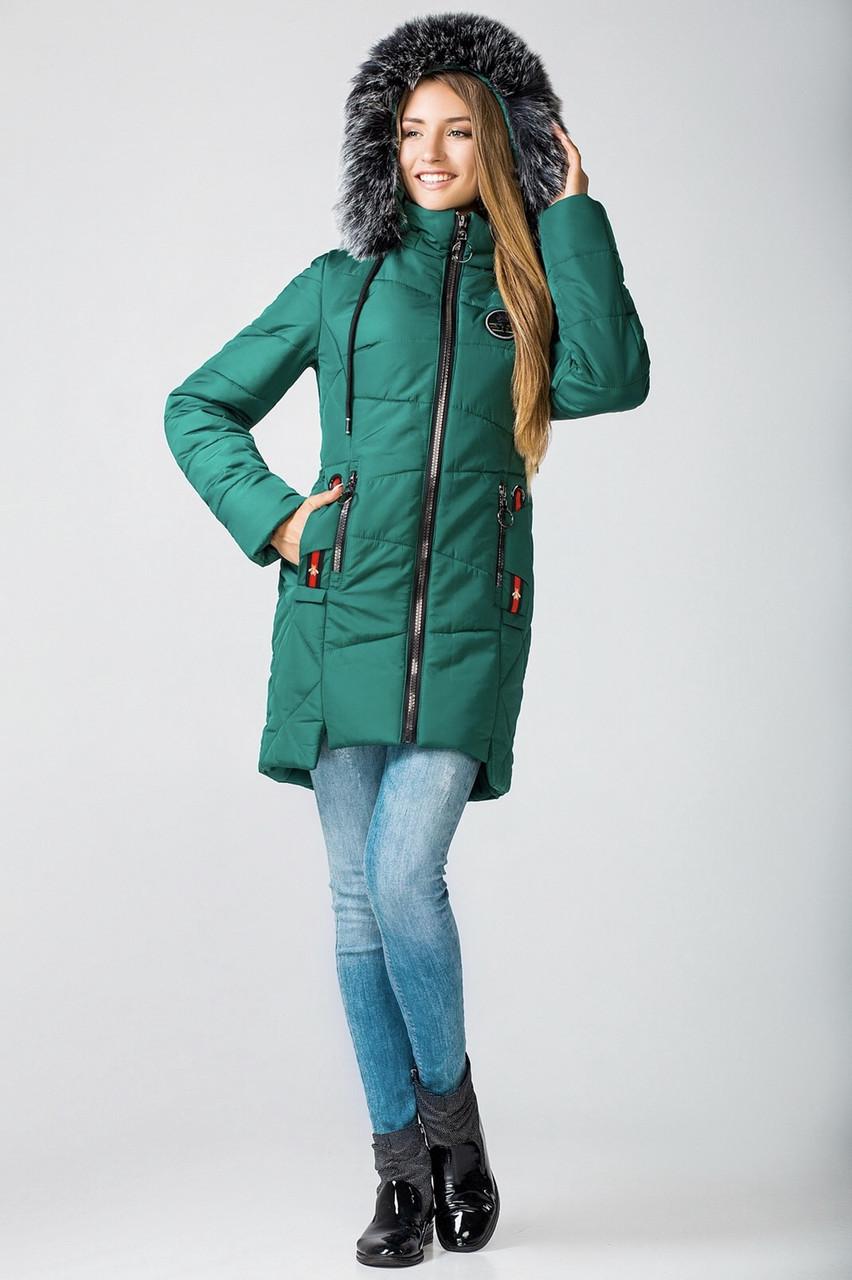 Зимние женские куртки молодежная 42-52 зеленый