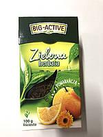 Чай зеленый листовой Big-Active Herbata Zielona с кусочками апельсина 100 г., фото 1