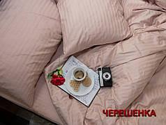 Полуторный набор постельного белья 150*220 из Страйп Сатина №504441 Черешенка™