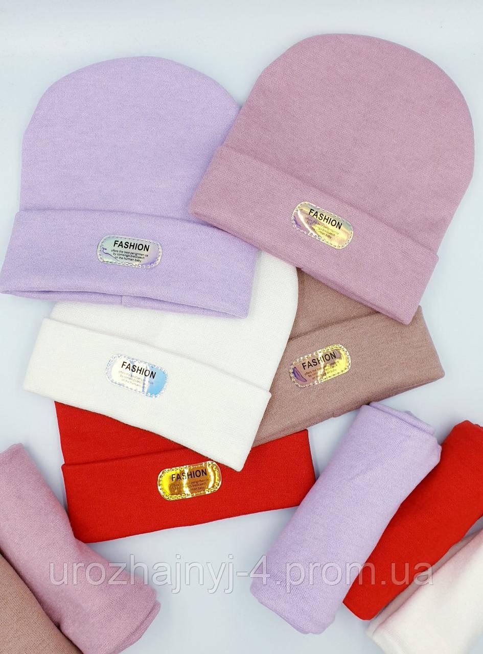Трикотажний комплект шапка і хомут ангора на флісі р52-54