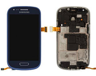 Модуль для Samsung Galaxy S3 mini, Samsung I8190, синий, дисплей + сенсор