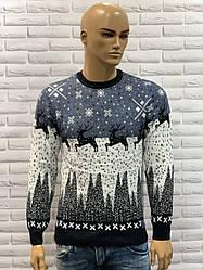 Чоловічий новорічний светр з оленями джинс